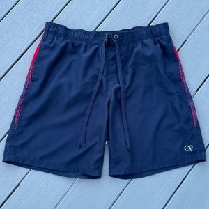 OP Navy Blue & Red Drawstring Swim Trunks